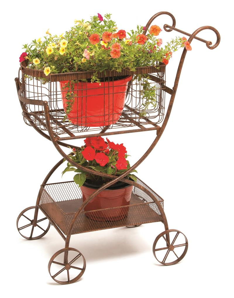 Carriage Planter Cart W Working Wheels