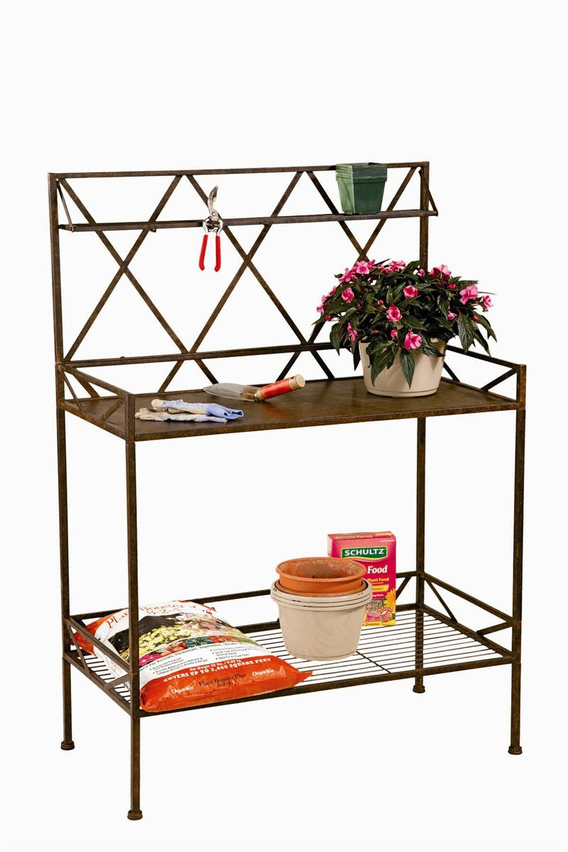 Xxx potting bench with metal shelf Bench with shelf